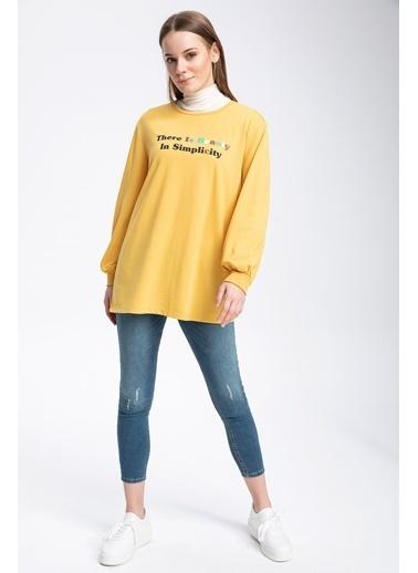 DeFacto Slogan Baskılı Balon Kollu Sweat Tunik Sarı